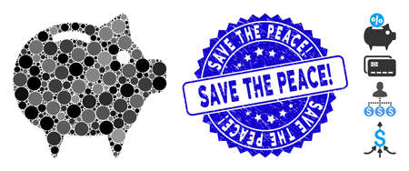Collage piggy bank icon and grunge stamp seal with Save the Peace! caption. Mosaic vector is created with piggy bank icon and with scattered spheric items. Save the Peace! stamp seal uses blue color,