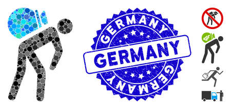 Mosaic porter icon and grunge stamp watermark with Germany text. Mosaic vector is formed with porter icon and with scattered round elements. Germany stamp uses blue color, and rubber design.