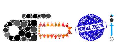 Icono de sierra mecánica de mosaico y sello de sello de goma con la frase de Alemania, Colonia. El vector de mosaico está compuesto por un icono de sierra eléctrica y elementos esféricos aleatorios. Alemania, el sello de Colonia utiliza color azul, Ilustración de vector