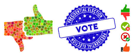 Mosaic rate thumbs icon and rubber stamp watermark with Presidential Election Vote caption. Mosaic vector is formed with rate thumbs icon and with scattered spheric items. Vectores