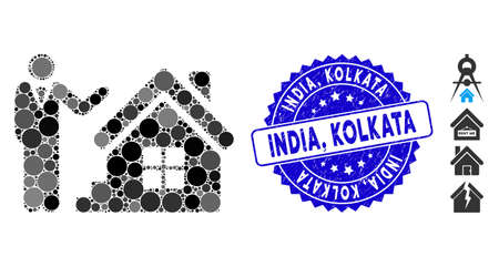 Icono de agente de bienes raíces de mosaico y sello de sello de grunge con India, frase de Kolkata. El vector de mosaico se forma a partir del icono del agente de bienes raíces y con elementos redondos aleatorios. India, Kolkata sello sello utiliza color azul, Ilustración de vector
