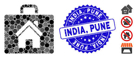 Mosaic realty case icon and rubber stamp watermark with India, Pune caption. Mosaic vector is formed with realty case icon and with randomized round spots. India, Pune stamp uses blue color,