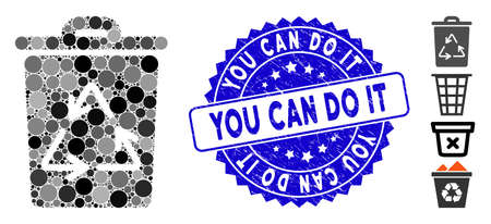 Mosaic recycling bin icon and distressed stamp watermark with You Can Do It phrase. Mosaic vector is designed with recycling bin icon and with scattered round elements. Ilustração