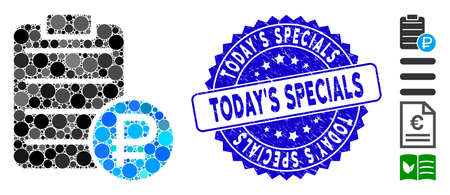 Collage rouble price list icon and grunge stamp seal with Today'S Specials caption. Mosaic vector is created with rouble price list pictogram and with random round spots.