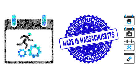 Mosaic running worker calendar day icon and distressed stamp seal with Made in Massachusetts caption.
