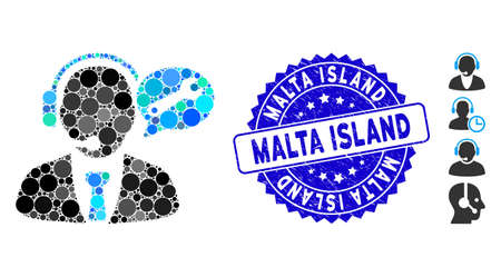 Mosaic service manager message icon and rubber stamp seal with Malta Island text. Mosaic vector is designed with service manager message icon and with randomized round elements.