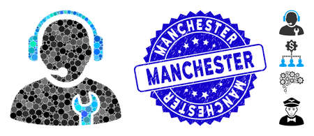 Mosaic service operator icon and rubber stamp seal with Manchester caption. Mosaic vector is formed from service operator icon and with randomized round elements.
