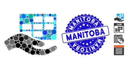 Mosaic service schedule icon and rubber stamp seal with Manitoba text. Mosaic vector is formed with service schedule icon and with random round elements. Manitoba stamp seal uses blue color, Ilustrace