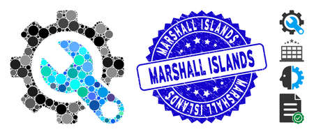 Collage service tools icon and corroded stamp seal with Marshall Islands caption. Mosaic vector is designed with service tools icon and with randomized spheric items. Banco de Imagens - 138235422