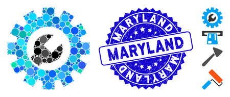 Mosaic service tools icon and grunge stamp seal with Maryland phrase. Mosaic vector is designed with service tools icon and with random round items. Maryland stamp uses blue color, Banco de Imagens - 138235436