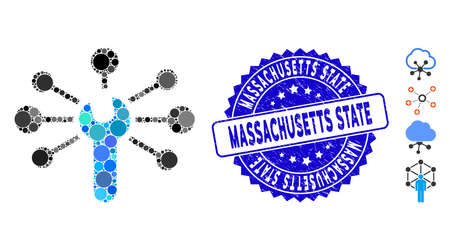 Mosaic service wrench relations icon and distressed stamp watermark with Massachusetts State text. Mosaic vector is designed from service wrench relations icon and with randomized round spots.