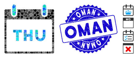 Collage Thursday calendar page icon and grunge stamp watermark with Oman phrase. Mosaic vector is created with Thursday calendar page icon and with scattered round items. Oman stamp uses blue color,