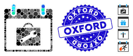 Mosaic toolbox calendar day icon and grunge stamp seal with Oxford text. Mosaic vector is created with toolbox calendar day pictogram and with scattered round items. Oxford stamp seal uses blue color, Banco de Imagens - 138235661