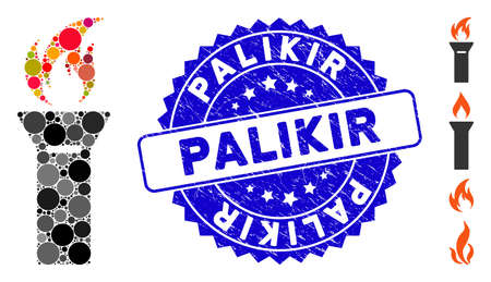 Mosaic torch flame icon and distressed stamp watermark with Palikir phrase. Mosaic vector is designed with torch flame icon and with randomized spheric elements. Palikir stamp uses blue color,