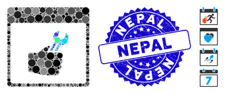 Mosaic spanner service hand calendar page icon and grunge stamp seal with Nepal caption. Mosaic vector is designed with spanner service hand calendar page icon and with scattered spheric spots.