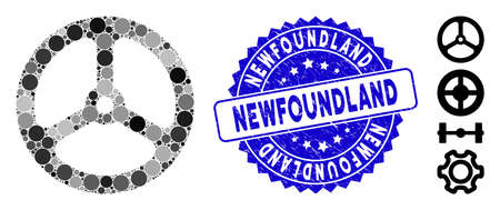 Mosaic steering wheel icon and rubber stamp watermark with Newfoundland phrase. Mosaic vector is formed with steering wheel icon and with random circle items. Newfoundland stamp seal uses blue color,