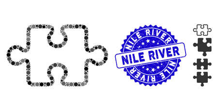 Mosaic stroke puzzle item icon and grunge stamp seal with Nile River caption. Mosaic vector is formed with stroke puzzle item icon and with random round items. Nile River stamp seal uses blue color, 向量圖像