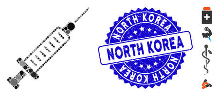 Collage syringe icon and grunge stamp seal with North Korea caption. Mosaic vector is designed with syringe pictogram and with scattered spheric elements. North Korea stamp seal uses blue color, Çizim