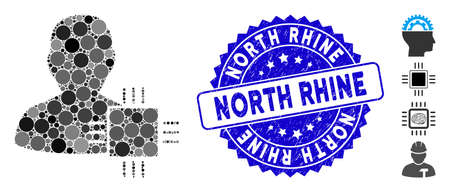 Collage system developer icon and distressed stamp seal with North Rhine phrase. Mosaic vector is formed with system developer icon and with random round spots. North Rhine stamp seal uses blue color,