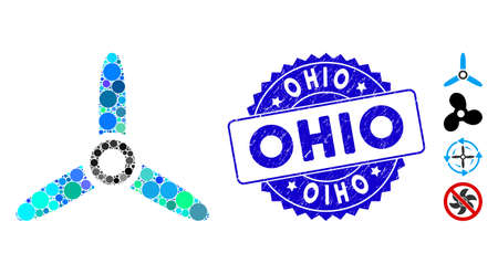 Mosaic three bladed screw icon and corroded stamp seal with Ohio caption. Mosaic vector is composed with three bladed screw icon and with randomized spheric spots. Ohio stamp seal uses blue color, Ilustracja