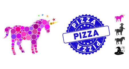 Icono de mosaico unicornio y sello de sello de goma con frase de Pizza. El vector de mosaico está formado por un pictograma de unicornio y con puntos circulares dispersos. El sello de sello de pizza utiliza color azul y diseño de goma.
