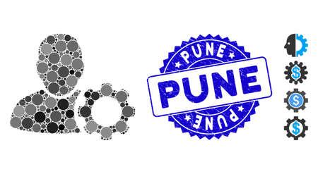 Icono de engranaje de configuración de usuario de mosaico y sello de sello apenado con frase de Pune. El vector de mosaico se crea con el icono de engranaje de configuración del usuario y con elementos circulares aleatorios. El sello de Pune usa color azul,
