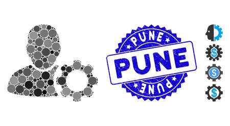 Mosaic user settings gear icon and distressed stamp seal with Pune phrase. Mosaic vector is created with user settings gear icon and with random circle items. Pune stamp seal uses blue color,