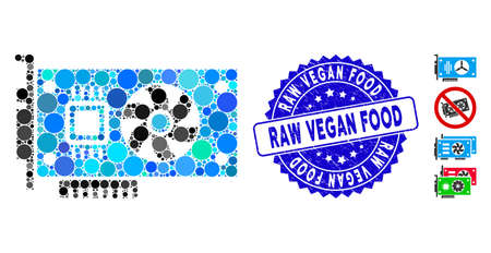 Mosaic video accelerator card icon and grunge stamp seal with Raw Vegan Food phrase. Mosaic vector is created from video accelerator card icon and with scattered circle spots.