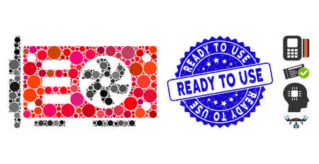 Mosaic video graphics GPU card icon and grunge stamp seal with Ready to Use caption. Mosaic vector is created from video graphics GPU card icon and with randomized round spots.