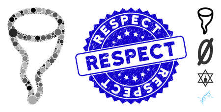 Mosaic vortex icon and grunge stamp seal with Respect phrase. Mosaic vector is created with vortex icon and with scattered circle spots. Respect seal uses blue color, and scratched design.
