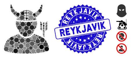 Icono de mosaico guerrero y sello de sello grunge con frase de Reykjavik. El vector de mosaico está diseñado con un icono de guerrero y con puntos circulares dispersos. Sello sello de Reykjavik utiliza color azul,