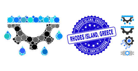 Mosaic water gear drops icon and distressed stamp seal with Rhodes Island, Greece caption. Mosaic vector is formed with water gear drops pictogram and with scattered spheric items. Rhodes Island,