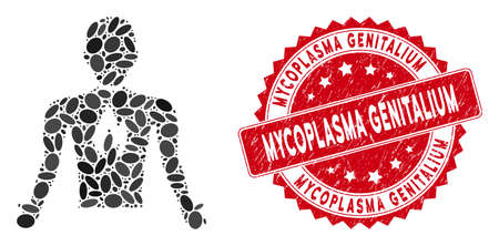 Mosaic chest pain icon and red rubber stamp seal with Mycoplasma Genitalium phrase. Mosaic vector is created with chest pain icon and with randomized elliptic spots.