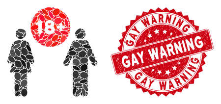 Collage for adults icon and red distressed stamp seal with Gay Warning text. Mosaic vector is created with for adults icon and with randomized elliptic spots. Gay Warning stamp seal uses red color, 일러스트