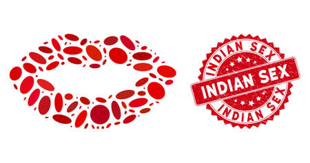 Mosaic kiss print icon and red rubber stamp seal with Indian Sex text. Mosaic vector is created from kiss print icon and with random oval spots. Indian Sex seal uses red color, and rubber texture.