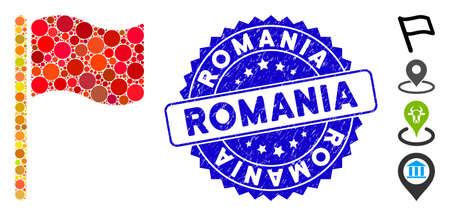 Mosaico que agita el icono de la bandera y el sello del sello del grunge con el texto de Rumania. El vector de mosaico está diseñado con un pictograma de bandera ondeando y con elementos circulares aleatorios. El sello de Rumania utiliza color azul y diseño grunge. Ilustración de vector