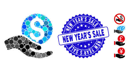 Mosaic money donation icon and grunge stamp seal with New Year'S Sale text. Mosaic vector is composed from money donation icon and with scattered round items.