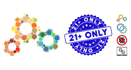 Mosaic gear system icon and rubber stamp seal with 21+ Only phrase. Mosaic vector is created from gear system icon and with random round items. 21+ Only stamp uses blue color, and rubber design. Illusztráció