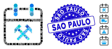Mosaic working day icon and corroded stamp seal with Sao Paulo caption. Mosaic vector is designed with working day pictogram and with random round items. Sao Paulo stamp seal uses blue color, Banco de Imagens - 138236259