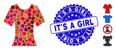 Mosaic lady T-shirt icon and grunge stamp seal with It'S a Girl phrase. Mosaic vector is formed from lady T-shirt icon and with random circle items. It'S a Girl stamp seal uses blue color,