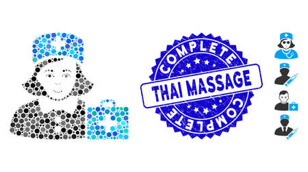 Mosaic first-aid nurse icon and rubber stamp watermark with Complete Thai Massage phrase. Mosaic vector is formed with first-aid nurse icon and with random circle spots.