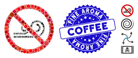 Mosaic no wind icon and rubber stamp watermark with Fine Aroma Coffee caption. Mosaic vector is designed with no wind pictogram and with scattered round elements.