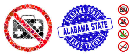 Mosaic no first-aid case icon and grunge stamp seal with Alabama State caption. Mosaic vector is designed from no first-aid case icon and with randomized round elements. Çizim