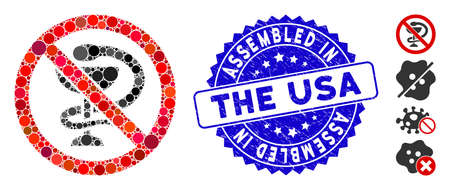Mosaic no medicine icon and rubber stamp seal with Assembled in the USA text. Mosaic vector is created with no medicine icon and with randomized round items. Çizim
