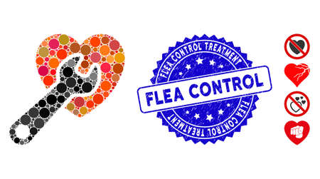 Mosaic heart surgery icon and rubber stamp seal with Flea Control Treatment text. Mosaic vector is formed from heart surgery icon and with scattered round spots.