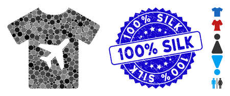 Mosaic man T-shirt icon and rubber stamp seal with 100% Silk phrase. Mosaic vector is composed with man T-shirt icon and with random circle spots. 100% Silk stamp uses blue color, and dirty surface.