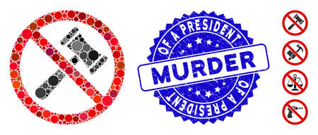 Mosaic no bids icon and distressed stamp seal with Of a President Murder phrase. Mosaic vector is created with no bids pictogram and with scattered round items.
