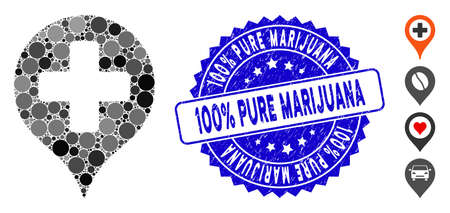 Mosaic hospital cross map marker icon and rubber stamp seal with 100% Pure Marijuana caption. Mosaic vector is composed with hospital cross map marker pictogram and with random round elements. Çizim