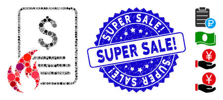 Mosaic hot price list icon and rubber stamp seal with Super Sale! text. Mosaic vector is created with hot price list icon and with random circle elements. Super Sale! stamp seal uses blue color, Ilustrace
