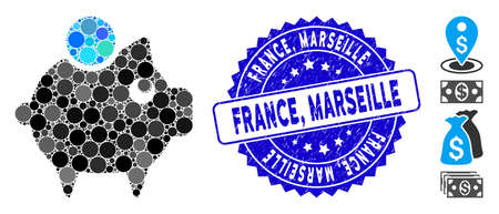 Mosaic piggy bank icon and corroded stamp seal with France, Marseille phrase. Mosaic vector is formed with piggy bank icon and with random round items. France, Marseille stamp seal uses blue color,  イラスト・ベクター素材